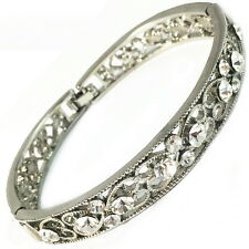 USA Bracelet White Gold plated Swarovski ELM CRYSTAL silver heart BANGLE narrow