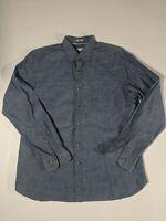 Peter Millar Long Sleeve Button Down Dress Shirt Men's Large Blue
