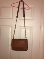 Forever 21 Brown Leather Crossbody Bag gold chain