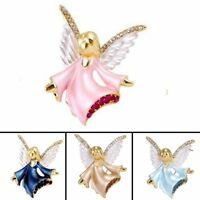 Fashion Crystal Rhinestone Angel Wings Enamel Brooch Pin Women Wedding Jewelry