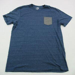 The North Face Mens T Shirt XL Camping Hiking Shirt Blue Pocket Short Sleeve