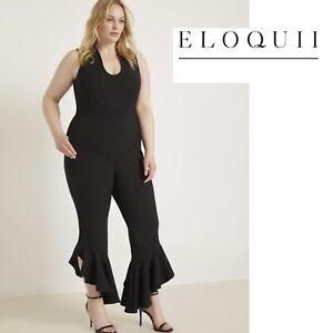 NEW Eloquii Women's Black Ruffle Hem Leg Jumpsuit Size 14