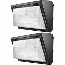 2x Luxrite 60W LED Wall Pack Light with Dusk to Dawn Photocell 7085lm 5000K IP65