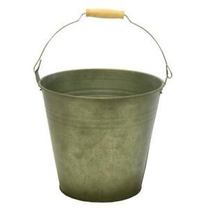 Vintage Green Round Galvanised Zinc Metal Bucket Plant Flower Planter Pot