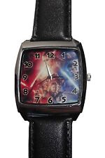Star Wars The Force Awakens Cast Square Face Genuine Leather Band Wrist Watch