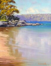 BEACH PAINTING Seascape Oil Painting Sydney  harbour by Graham Gercken
