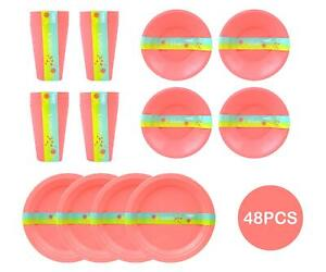 48pc Picnic Set Plastic Reusable Bowls Cups Plates Barbecue Summer Party Pink