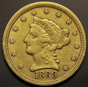 1869-S Gold $2.50 Quarter Eagle, Uncertified Extra Fine! [#UNSt]