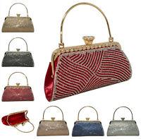 Ladies Diamante Clutch With Handle Women Spacious Shimmer Party Wedding Handbag