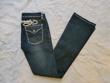 NWOT WOMENS ED HARDY BOOTCUT JEANS THICK STITCH SIZE 27x34 #W2919