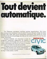 Publicité Advertising 1975 Honda Civic Automatique