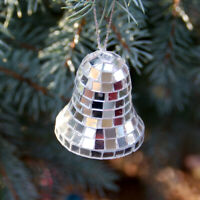 1990's Vintage Reflective Mirrored Mosaic Style Bell Holiday Ornament (2 Inch)
