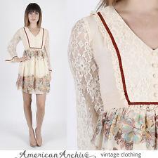 Vintage 70s Boho Wedding Dress Floral Hippie Sheer Lace Angel Bell Sleeve Mini S