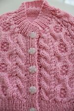 Baby Pink Knitted Cable Cardigan // Handmade // Baby Girl