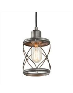 LNC Modern Farmhouse 1-Light Mini Pendant with Dark Pewter Geometric Cage Design