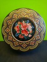 Vintage Daher Round Tin Container Embossed Floral Design Made in England 8""