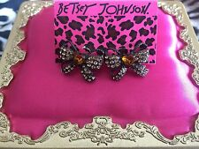 Betsey Johnson Topaz Iconic Autumn Brown Crystal Amber Heart Bow Ribbon Earrings