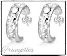 925 Sterling Silver Detailed Geo Half Hoop Earrings Butterfly Gift