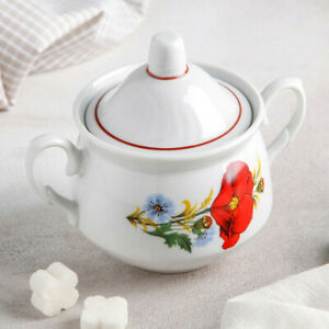 Porcelain Sugar Bowl with Floral Pattern by Dobrush Belarus. Red Poppies