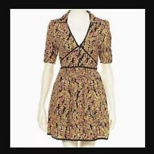 KATE MOSS TOPSHOP emblématique Banana Feuille Floral Vintage Celeb patineur tea dress 8 4 36 S