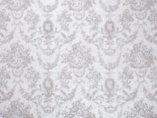 0,5 M, Toile de Jouy Motif Lin Tissu, Blanc sur Blanc , Roses, Baroque