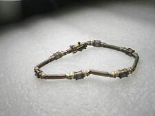 Vintage Brassy Goldtone Faux Sapphire  & Clear Stone Tennis Bracelet, 7: