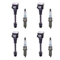 Set of 4 Denso Platinum TT Spark Plugs + 4 Herko Ignition Coil For Nissan Sentra