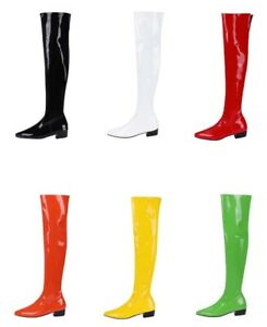Ladies Shoes Synthetic Leather Low Cuban Heel Zip Over Knee Boots US Size b219