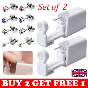2Pcs Disposable Ear Piercing Tool Gun Earring Ear Stud Gun Kit Stud Piercing UK