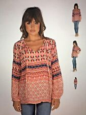 Tolani Elise Apricot & Pink Silk Print V-Neck Tunic Top Size Small NEW!