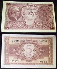 BANCONOTA 5 LIRE 1944 ATENA BIGLIETTO DI STATO