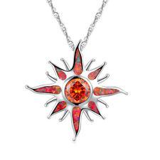 """Orange Fire Opal Orange Garnet Silver Women Jewelry Gems Pendant 1 1/4"""" OD5964"""