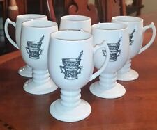 Rx Pharmaceutical Design Footed Coffee Cups c1950 MINT Lot of 6