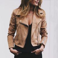 Women Winter PU Leather Jacket Coats Zip Up Handsome Motorbike Flight Top Coat