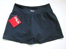 NWT $50 FILA Black Stretchy Nylon SOFT Jersey Knit Sport Tennis Skort S