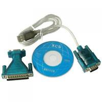 USB 2.0 to Serial DB 9 Pin RS232 + 25 Pin Male Adapter Cable Win 7 8 XP