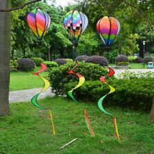 Air Balloon Wind Spinner Rainbow Sequins Windsock Striped Yard Outdoor Decor-
