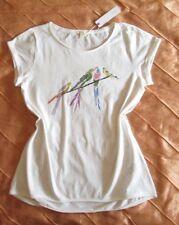 ESPRIT TUNIKA WOMEN KURZARM LONG SHIRT VOGEL PRINT OFF WHITE WEISS L, 40 NEU