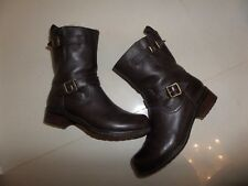 TOP DESIGNER Belstaff BROWN LEATHER WINTER ANKLE BIKER BOOTS SIZE 3
