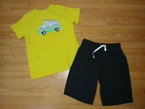 Hanna Andersson Black Bright Basics Sweatshorts 160 14 Yellow Camper Top 150 12