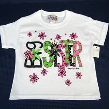 Girls T-Shirt Big Sister Flowers Pink Green Black Crown Bows X-Small I'm Yours