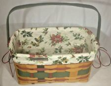 Longaberger Basket Christmas Collection 2008 with Cloth Plastic Liners 13x7x7""
