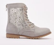 SIZE UK 6 / EU 39 GREY JEWEL & LACE COMBAT LACE UP / ZIP BACK ANKLE BOOT IN BOX