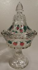 Indiana Tiara Glass Embossed Colored Strawberry Candy Dish With Lid