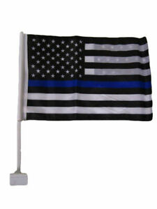 """(2 Pack) USA Thin Blue Line 12"""" x 18"""" Car Flag Double Sided Police Lives Matter"""