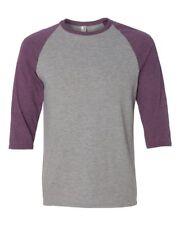 Size 2XL Heather Grey/Aubergine Triblend Baseball 3/4 Sleeve T-Shirt Raglan Tee