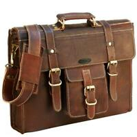 "Leather Briefcase Laptop Messenger Bag 16"" MacBook Satchel Shoulder Bag Unisex"