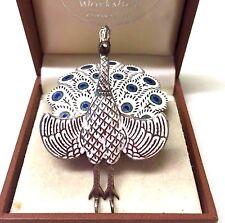 Vintage  Silver Enamel Peacock Brooch Pin