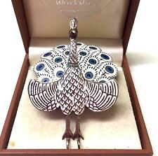 Vintage Siam Sterling  Silver Enamel Peacock Brooch Pin