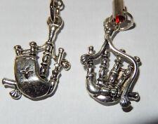 Bagpipes, wind instrument Scottish kilt music lover pewter charm  hook earrings